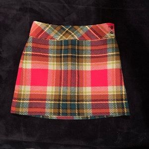 J. Crew 100% Wool Plaid Skirt Size 0